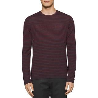 Calvin Klein Mens Pullover Sweater Merino Wool Striped
