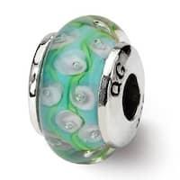 Sterling Silver Reflections Kids Green Blue Hand-blown Glass Bead (4mm Diameter Hole)