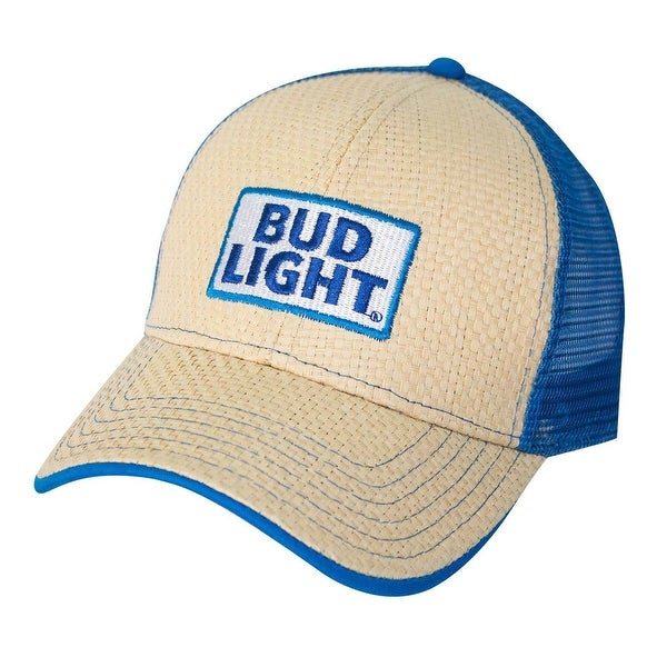 d2c9c55c6 Genuine Bud Light Beer Men's Baseball Cap with Straw Front and Logo Patch  Mesh back Adjustable