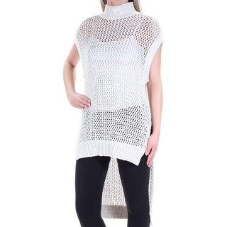 Womens Ivory Cap Sleeve Turtle Neck Hi-Lo Top Size XS