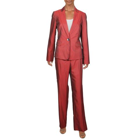Le Suit Womens Pant Suit One-Button Straight Leg - Fire Red/Black - 4