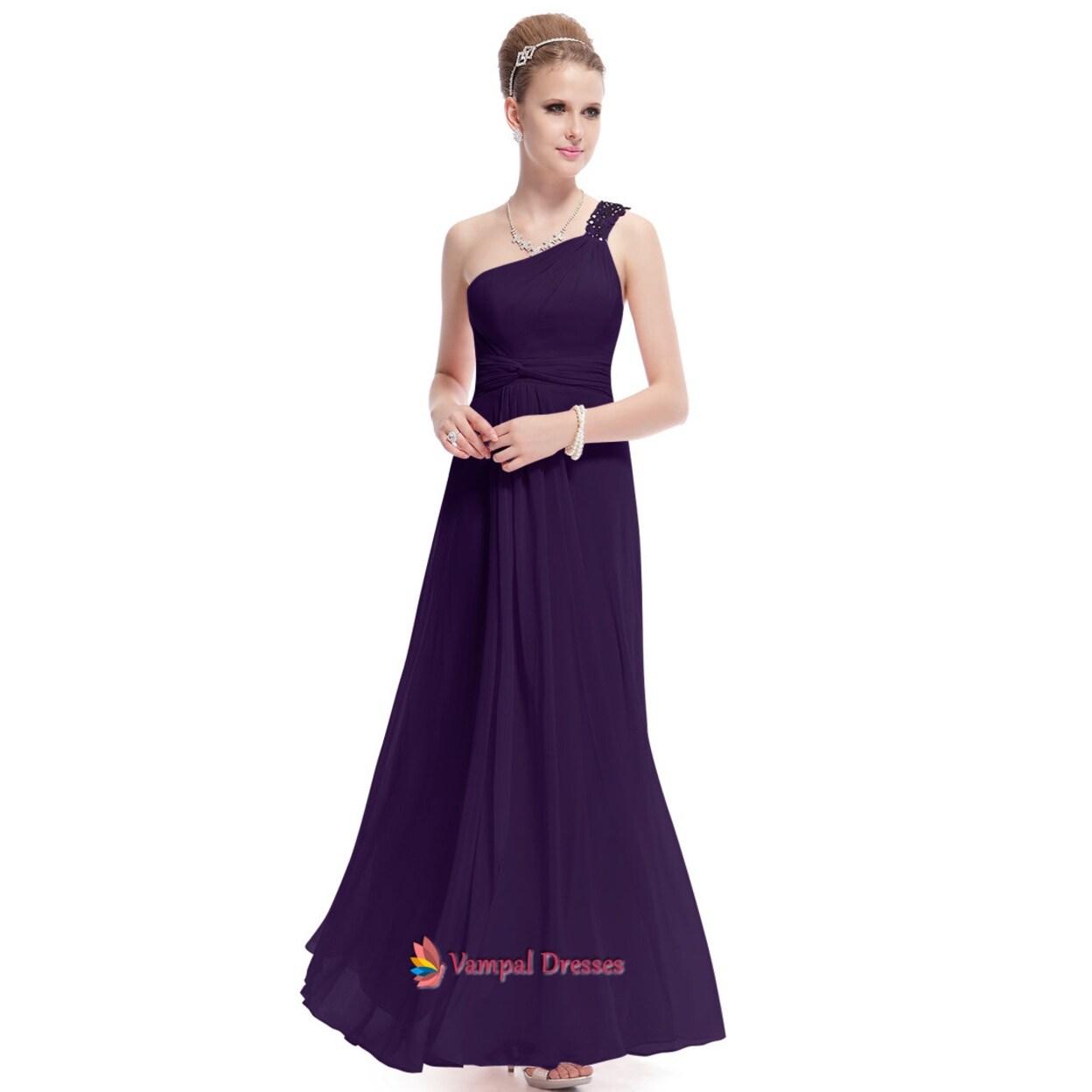Purple One Shoulder Long Party Dresses Dark Bridesmaid