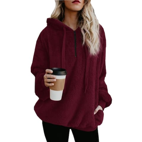 2018 Autumn And Winter Solid Color Hooded Pullover Sweater