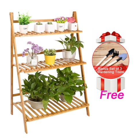 LANGRIA Folding Bamboo Plant Stand Shelf, Flower Pot Holder, Plant Rack, Wood Plant Stand, Plant Display Rack