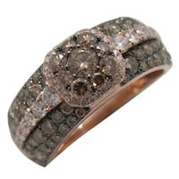 Prism Jewel Brown Color Diamond & Natural Diamond Engagement Ring, Rose Gold - White G-H