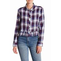 Abound Blue Womens Size Small S Button Down Plaid Ruffle Trim Top