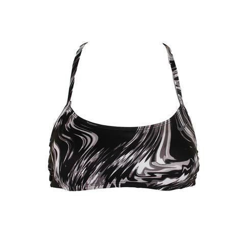 Nike Black Grey Marble-Print Reversible Halter Bikini Top L