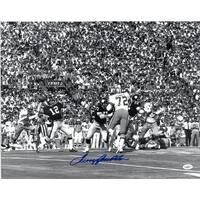 Terry Bradshaw signed Pittsburgh Steelers 16x20 BW Photo horizontal vs Cowboys JSA Hologram