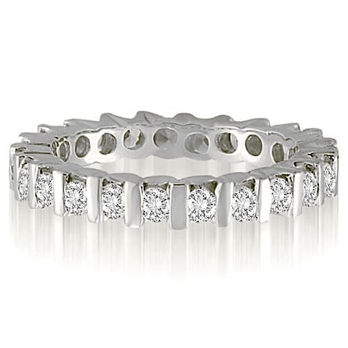 1.00 cttw. 14K White Gold Classic Bar Round Diamond Wedding And Eternity Band