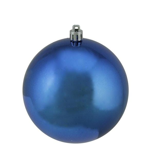 "Shiny Lavish Blue UV Resistant Commercial Shatterproof Christmas Ball Ornament 4"" (100mm)"