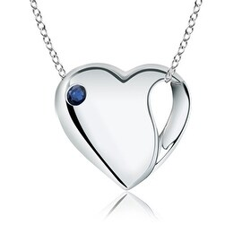 Gypsy Set Heart Shaped Sapphire Necklace in Silver