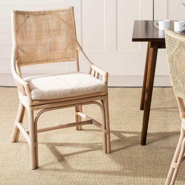 "Safavieh Rural Woven Dining Donatella Natural White Wash Chair - 22"" x 24"" x 37"". Opens flyout."