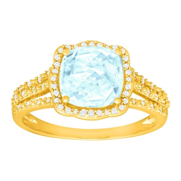 1 7/8 ct Natural Aquamarine & 1/6 ct Diamond Ring in 14K Gold - Blue