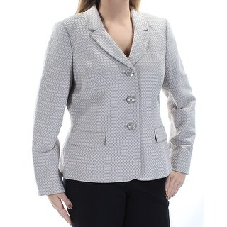 Womens Beige Printed Wear To Work Blazer Jacket Size 14