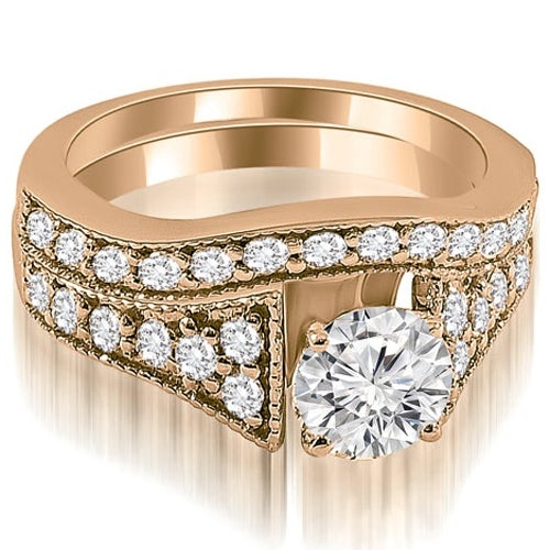 1.75 cttw. 14K Rose Gold Vintage Cathedral Round Cut Diamond Bridal Set
