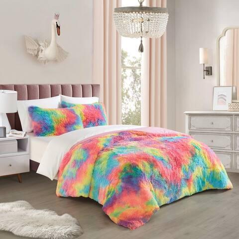 Heritage Kids Rainbow Bright Faux Fur Comforter Set