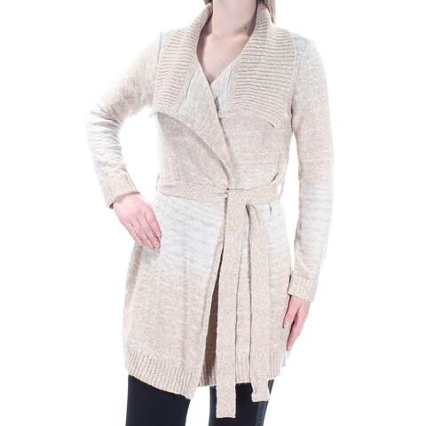 Womens Beige Long Sleeve Open Casual Sweater Size M