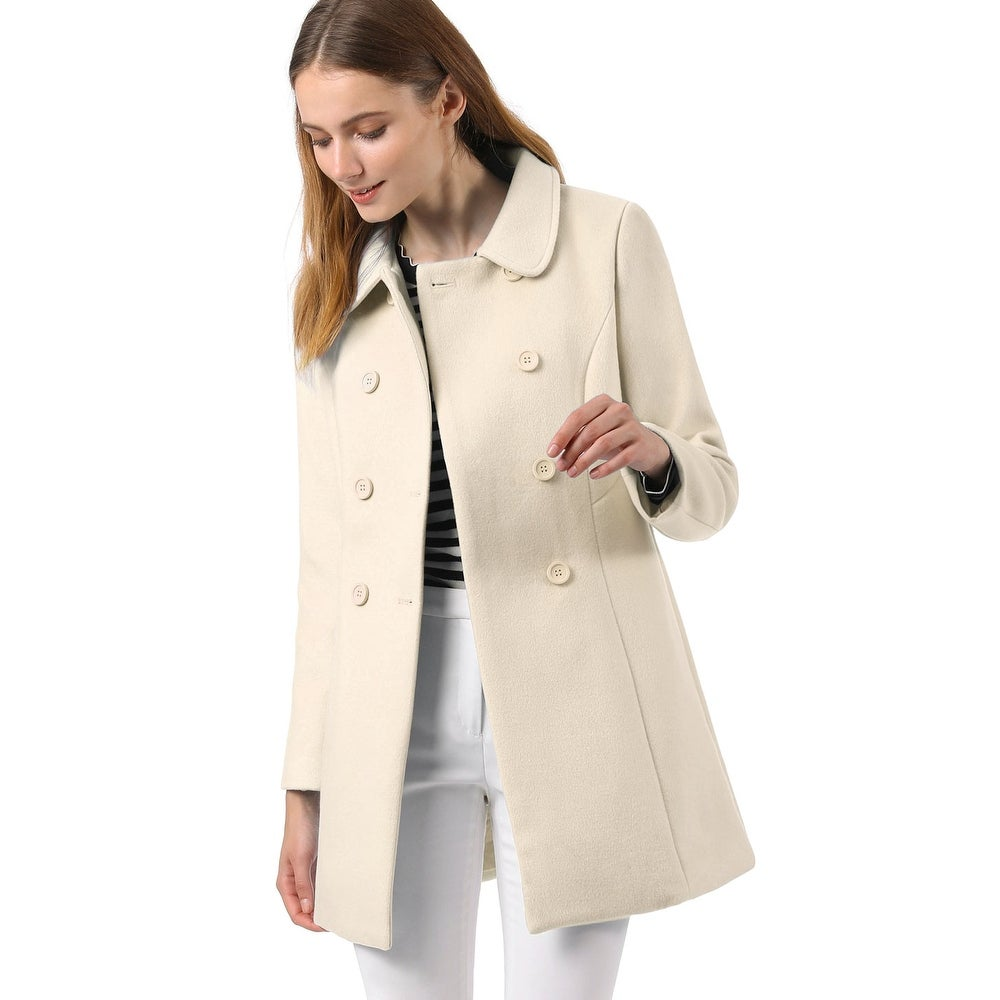 Womens Peter Pan Collar Double Breasted Trench Coat