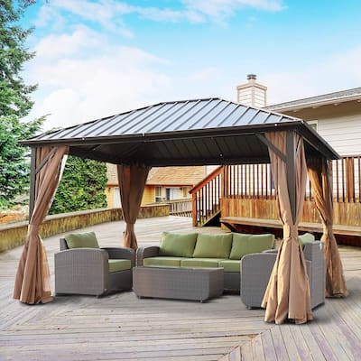 Outsunny Steel Hardtop Gazebo with Screened Curtains - 12' x 10'