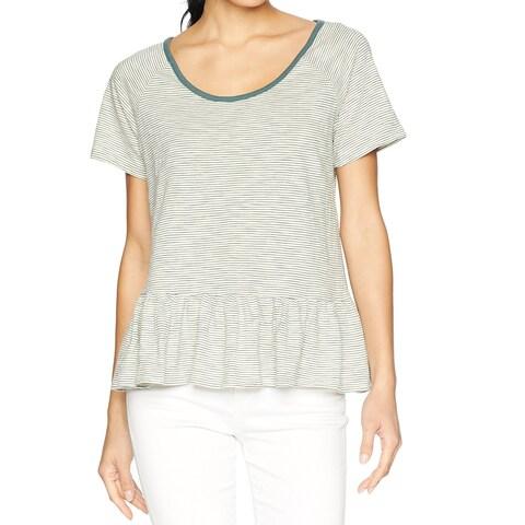 Lucky Brand Green Women's Small S Peplum Striped Scoop-Neck Shirt