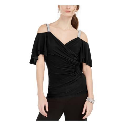 MSK Womens Black Embellished Flutter V Neck Evening Top Size PL