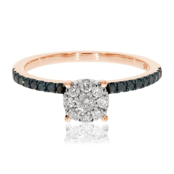 Prism Jewel 0.39Ct Round Blue Diamond With Natural Diamond Engagement Ring