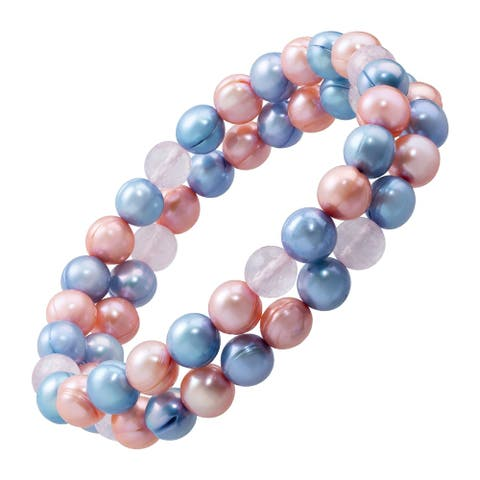"""Honora 8-9 mm Ringed Pearl Multi-Color Stretch Bracelet, 7.25"""" - Pink"""