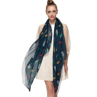 Elegant Women Bird Print Soft Long Scarf Wrap Shawl - 70 inches x 35 inches