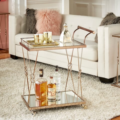 Sandiacre Champagne Gold Reef Knot Frame Bar Cart by iNSPIRE Q Bold