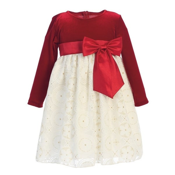f7e0bd254 Shop Lito Big Girls Red Ivory Velvet Glitter Embossed Lace Christmas Dress  7-10 - Free Shipping Today - Overstock - 19471419