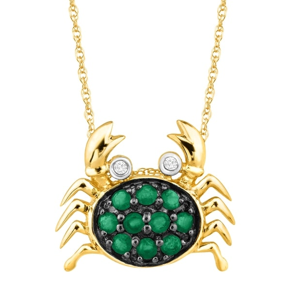 1/5 ct Natural Emerald Crab Pendant with Diamonds in 14K Gold - Green