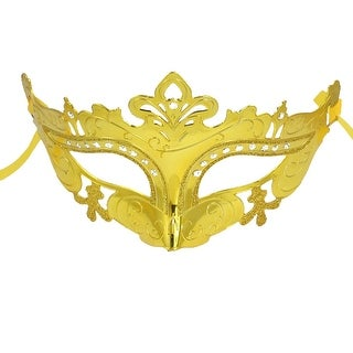 Unique Bargains Self Tie Gold Silver Two Tone Carnival Party Costume Crown Mask for Women