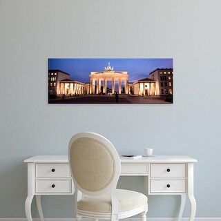 Easy Art Prints Panoramic Images's 'View of a gate lit up at night, Brandenburg Gate, Berlin, Germany' Canvas Art