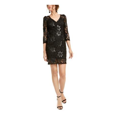 NANETTE LEPORE Black 3/4 Sleeve Short Dress 2