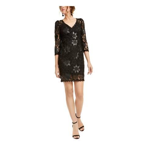 NANETTE LEPORE Black 3/4 Sleeve Short Dress 6