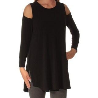 ALFANI $59 Womens New 1252 Black Cold Shoulder Jewel Neck Long Sleeve Top S B+B