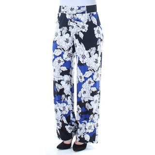 Womens Blue Floral Wear To Work Pants Size XXL