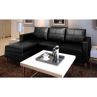 VidaXL 3 Seater L Shaped Artificial Leather Sectional Sofa Black