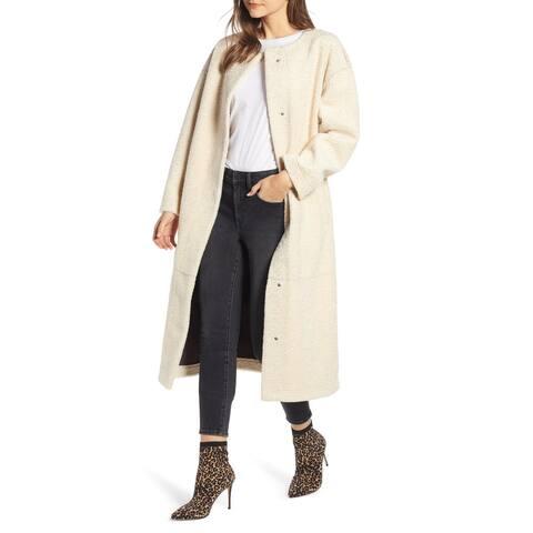 Something Navy White Ivory Womens Size Large L Faux Shearling Coat