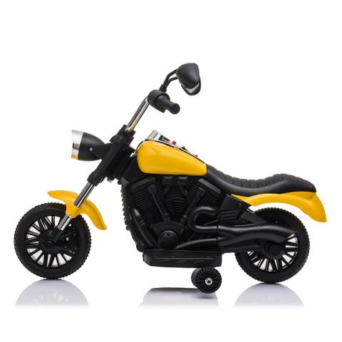 """Kids Electric Ride On Motorcycle With Training Wheels 6V Yellow - 7'6"""" x 9'6"""" - 7'6"""" x 9'6"""""""