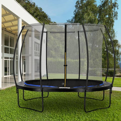 Ainfox 12Ft Trampoline with Safety Enclosure Net Spring Pad Heavy Duty Trampoline for Kids & Adults Without Ladder