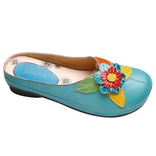 Women's Leather Clogs - Sculpted Flower Open Back Shoes
