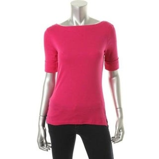 Ralph Lauren Womens Petites Cotton Fitted Pullover Top - pm