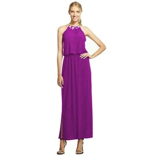 Chiasso High Embellished Neck Gown with Side Slits Magenta Purple Large