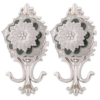 Dorm Metal Flower Retro Style Wall Mounted Curtain Holder Hook Silver Tone 2 Pcs - Silver Tone