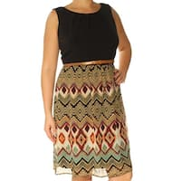 CONNECTED Womens Black Pleated Tribal Sleeveless Jewel Neck Knee Length Fit + Flare Dress  Size: 12