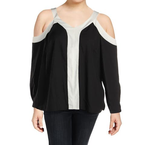 Calvin Klein Black Women's Size 3X Plus Cold-Shoulder Blouse