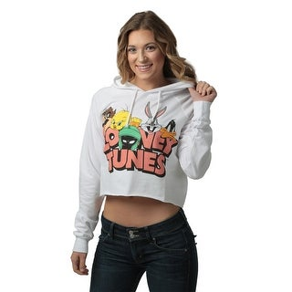 Looney Tunes Juniors Cropped Pullover Hooded Sweatshirt