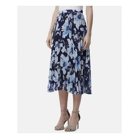 TAHARI Womens Navy Floral Midi Pleated Skirt Size 16