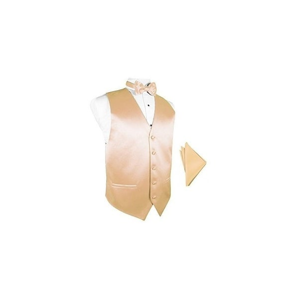 f6ae5b206a2d Shop Peach Satin Tuxedo Vest with Bowtie & Pocket Square Set - On Sale -  Free Shipping Today - Overstock - 25446984